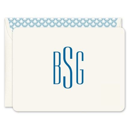 Rounded Ecru Monogram Note Card
