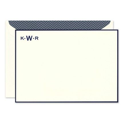 Navy Border Monogram Flat Card