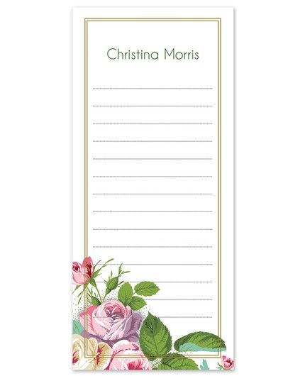 Rose Garden List Pad