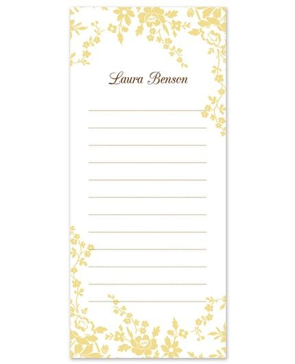 Yellow Flower List Pad