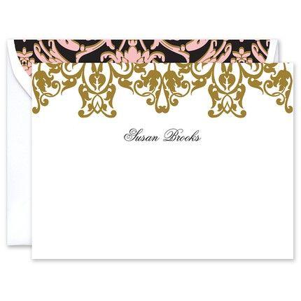 Gold Damask Flat Card