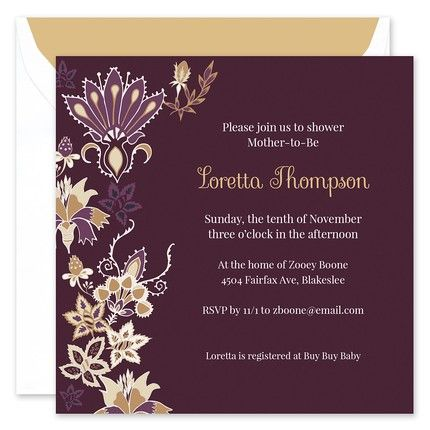 Plum Floral Invitation