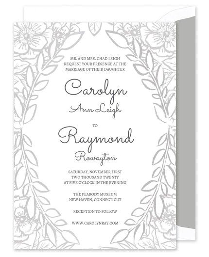 Grey Floral Invitation