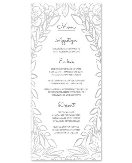 Grey Floral Menu Card