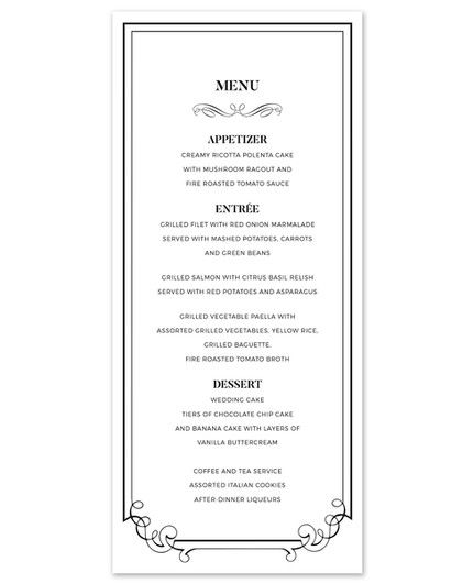 Ornate Border Menu Card