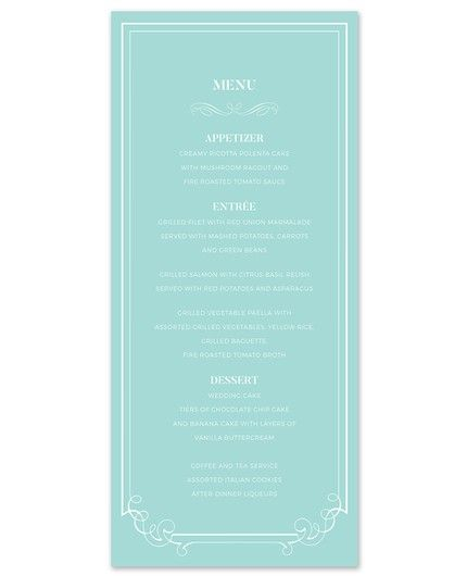 Tiffany Border Menu Card