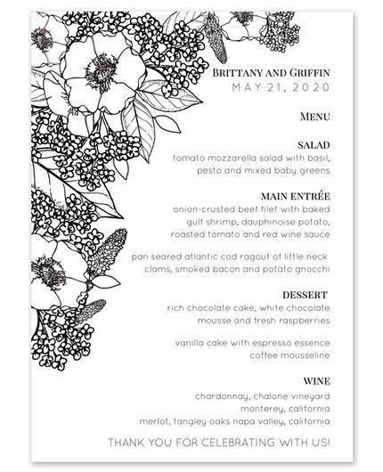 Bouquet Menu Card