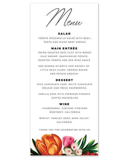 Bold Flora Menu Card