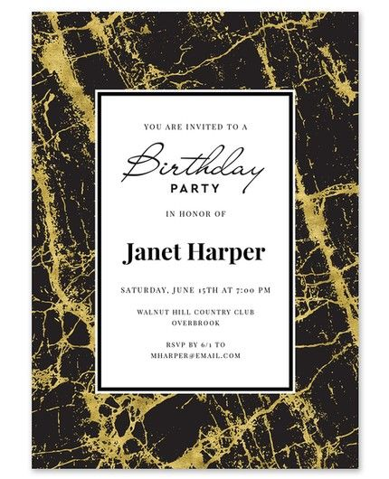 Marble Brithday Invitation