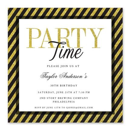 Glam Stripes Invitation