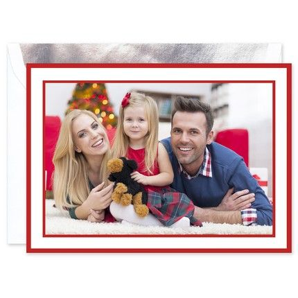Crimson Border Mounted Photo Card