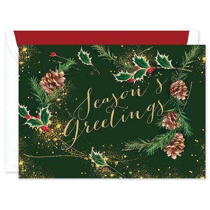 Pinecone Seasons Greetings Card