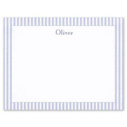 Blue Seersucker Flat Card