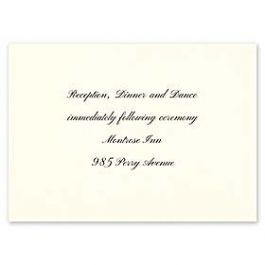 Carlson Craft Simple but Elegant 129041 128994 Reception Card
