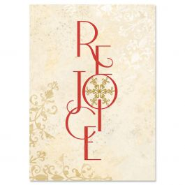 Rejoice Snowflake Christmas Cards - Personalized