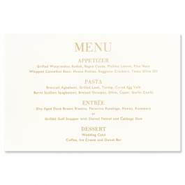 Oyster White Menu Card