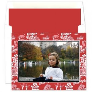 Asian Red Mounted Photo Card