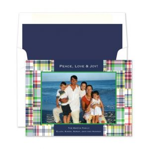Madras Patch Blue Photo Card