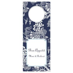 Chinoiserie Navy Wine Tag