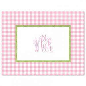 Pink Gingham Note Card