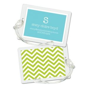 Green Chevron Luggage Tag