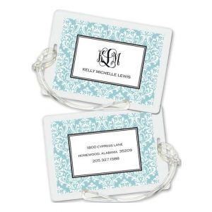 Aqua Damask Luggage Tag