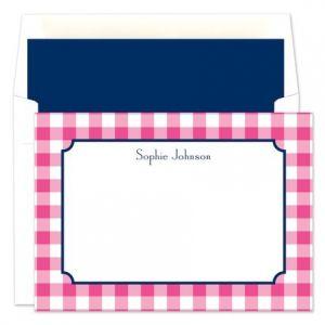 Pink Check Flat Card