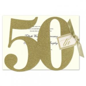 Glittered 50th Invitation