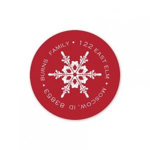 Red Snowflake Label