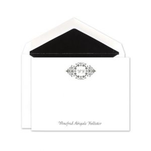 White Scroll Flat Card