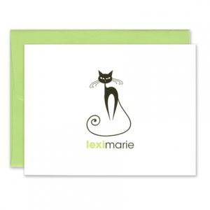 Green Fancy Cat Note Card