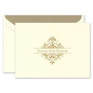 gold flourish note card - Personalized Folded Note Cards