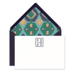 White & Navy Flat Card