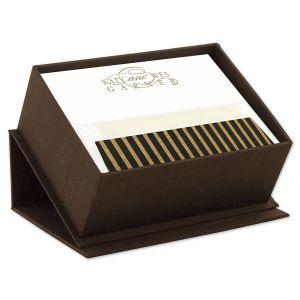 Brown Silk Stationery Box