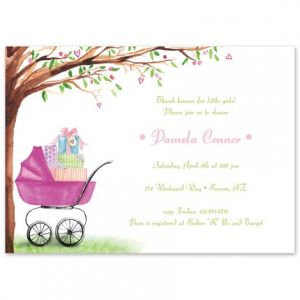 Pink Bassinet Invitation