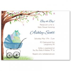 Blue Bassinet Invitation