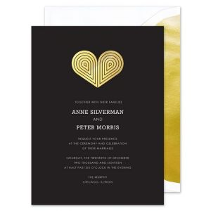 Gold Deco Heart Invitation