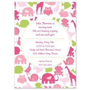 Pink Animals Invitation