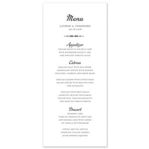 Traditional Flair Menu Card