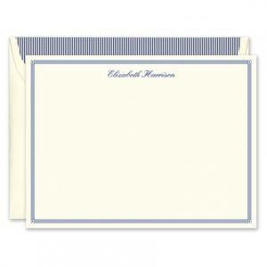 Blue Deco Border Flat Card