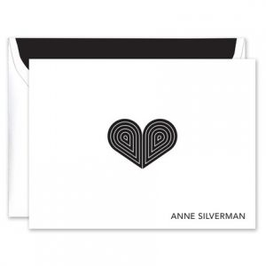 Black Deco Heart Note Card