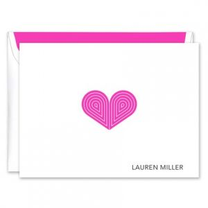 Pink Deco Heart Note Card