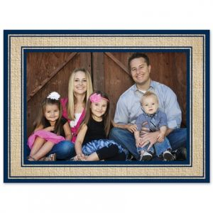 Navy Burlap Photo Card