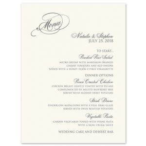 Warm White Menu Card