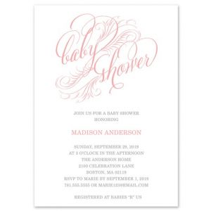 Pink Feathers Invitation