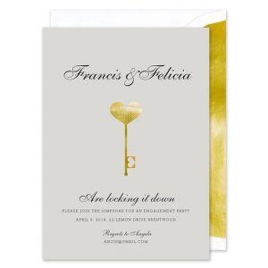 Foil Deco Key Invitation