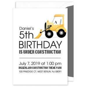 Bulldozer Truck Invitation