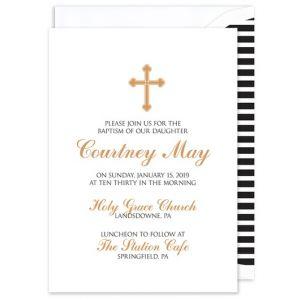 Gold Cross  Invitation