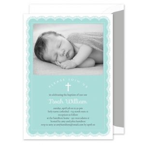 Blue Lace Photo Invitation