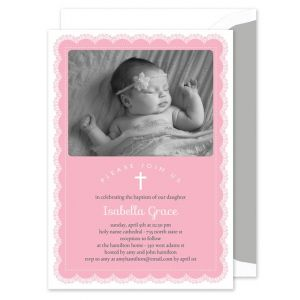 Pink Lace Photo Invitation